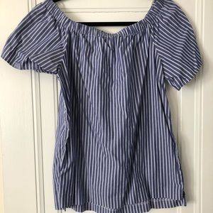 Off the shoulder blue & white striped top